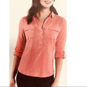 NWT Jones New York XXL coral rose 1/4 button down